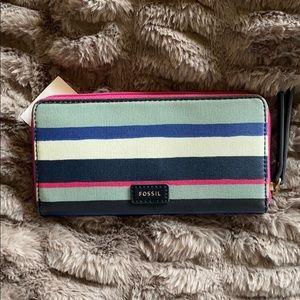 NWT new FOSSIL Eliza Clutch Wallet Striped